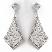 Vintage Rhodium Clear Earrings 9884