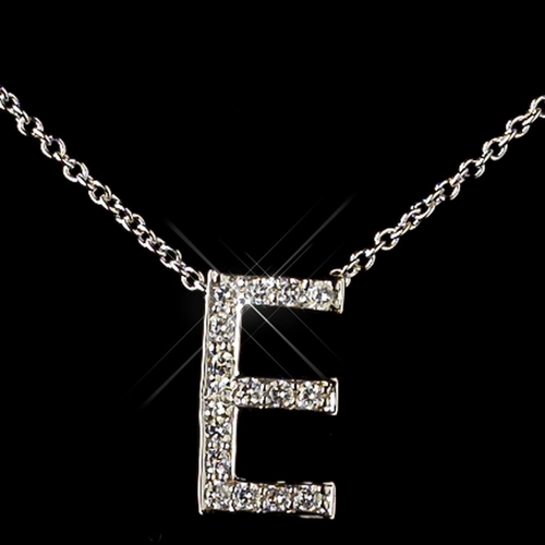 """""""E"""" Sterling Silver CZ Crystal Initial Necklace 4407"""