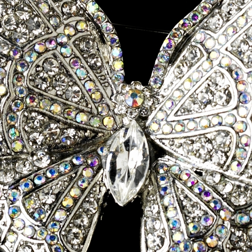 * Elegant Antique Silver AB Rhinestone Butterfly Brooch or Hair Pin 7444***Discontinued***