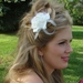 Elegant Bridal Flower with Feathers Hair Accent Comb 7024 White, Ivory or Black