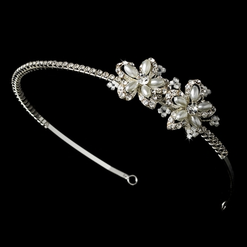 Silver Rhinestone Adored Headband with White Side Accents of Faux Pearl Flowers 2853