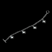 Elegant Designer Clover Inspired Black & Silver Crystal Bridal Wedding Bracelet 8728