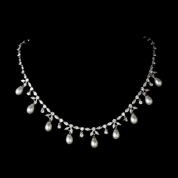 Elegant Antique Silver Clear CZ & Pearl Necklace N 3842 * 1 Left *