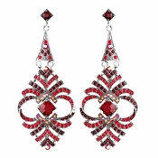 Elegant Red Vintage Crystal Earrings E 954