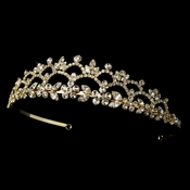 * Elegant Gold Rhinestone Bridal Tiara HP 1022 **Discontinued**