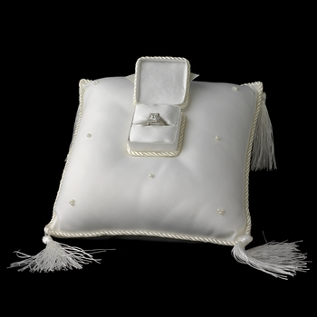 Elegant Ivory Ring Bearer Pillow with Ring Treasure Box***Discontinued***
