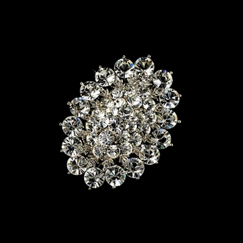 Elegant Vintage Crystal Bridal Pin for Hair or Gown Brooch 13 Silver Clear