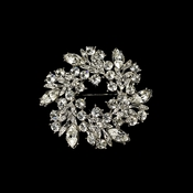 Elegant Vintage Crystal Bridal Pin for Hair or Gown Brooch 19 Antique Silver Rhinestone