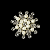 Elegant Vintage Crystal Bridal Pin for Hair or Gown Brooch 30 Antique Silver Rhinestone with Diamond White Pearls