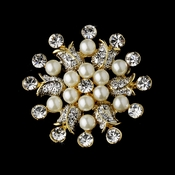 Elegant Vintage Crystal Bridal Pin for Hair or Gown Brooch 30 Gold