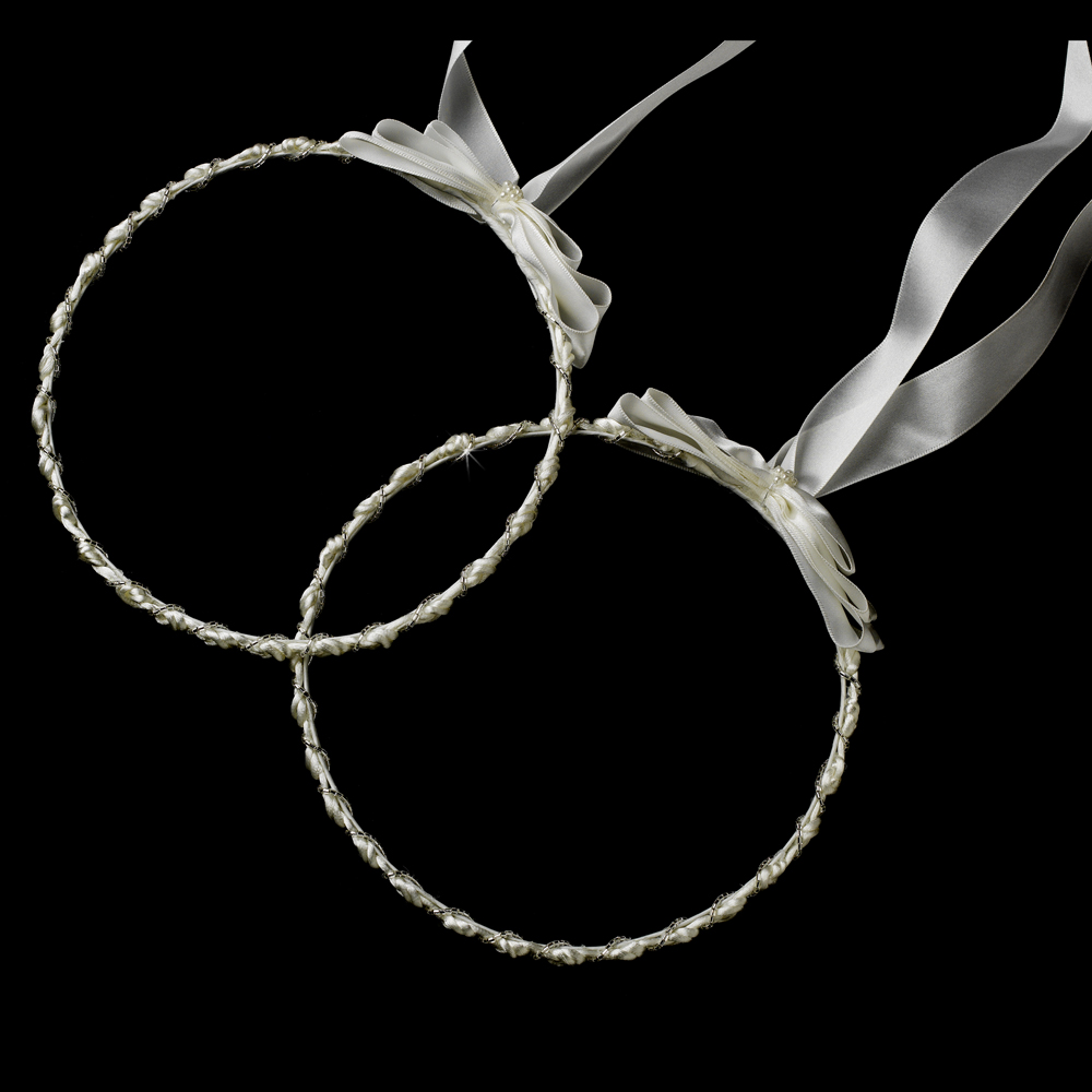 Elegant White Or Ivory Greek Stefana Wedding Crowns W Silver Beading 8018