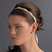 * Elegant White or Ivory Pearl Bridal Ribbon Headband 6469