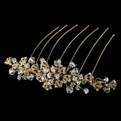 Exquisite Gold Bridal Hair Comb w/ Rhinestones & Swarovski Crystals 8838