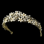 * Exquisite Gold Floral Flexable Bridal Tiara HP 7329***Discontinued***