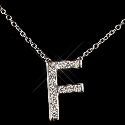 """""""F"""" Sterling Silver CZ Crystal Initial Necklace 4407"""