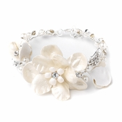 Fabric Flower Bridal Wedding Bracelet with Pearl & Rhinestone Accents B 10002