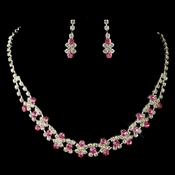 Fabulous Silver Pink & Clear Rhinestone Necklace & Earring Set 3092
