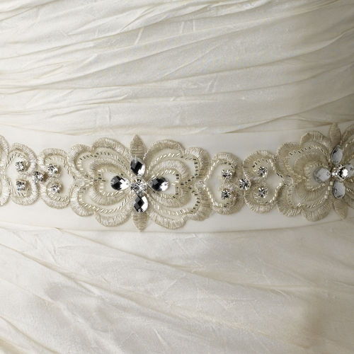 Floral Embroidered Belt 250 with Rhinestones, Beads & Swarovski Crystal Beads ** 1 Left Each **
