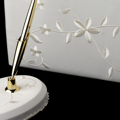 Floral Embroidery Guestbook & Pen Set