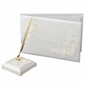 "Floral Embroidery ""Our Guests"" Guestbook & Pen Set"