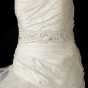 Floral Lace Sash Bridal Belt 52 with Rhinestone, Bugle Bead & Sequin Accents