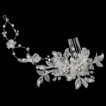 Floral Lace Vine Comb with Pearls & Crystals 4187