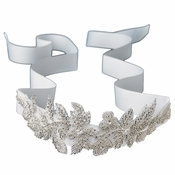 Floral Leaf Sash Belt/Headband with Silver Bugle Beads & Rhinestones Ivory Ribbon Belt 310