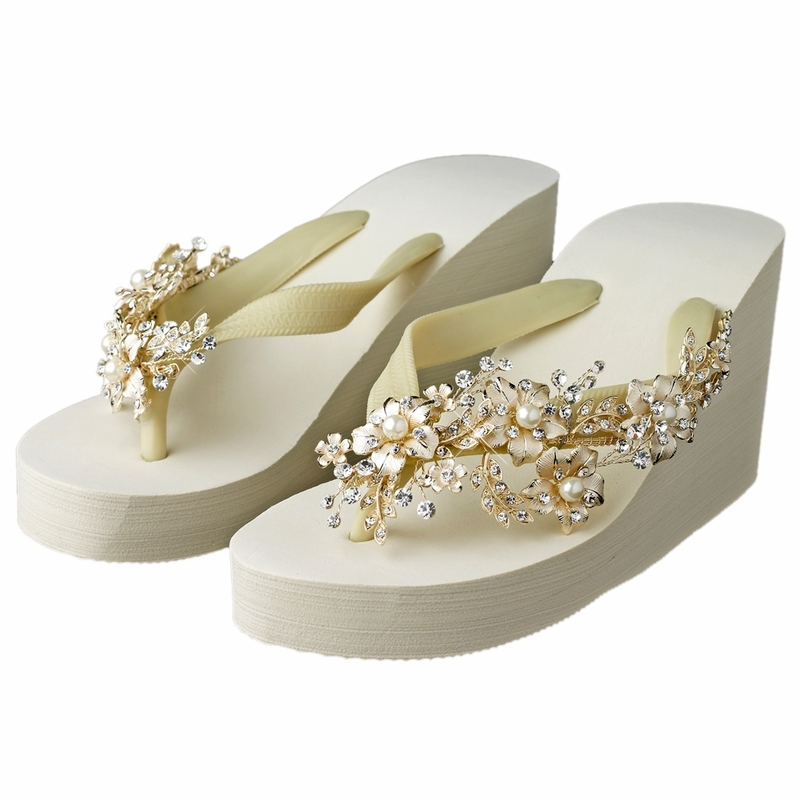 2aaf9181155 Floral Light Gold Vine High Wedge Flip Flops with Rhinestone   Pearl Accents