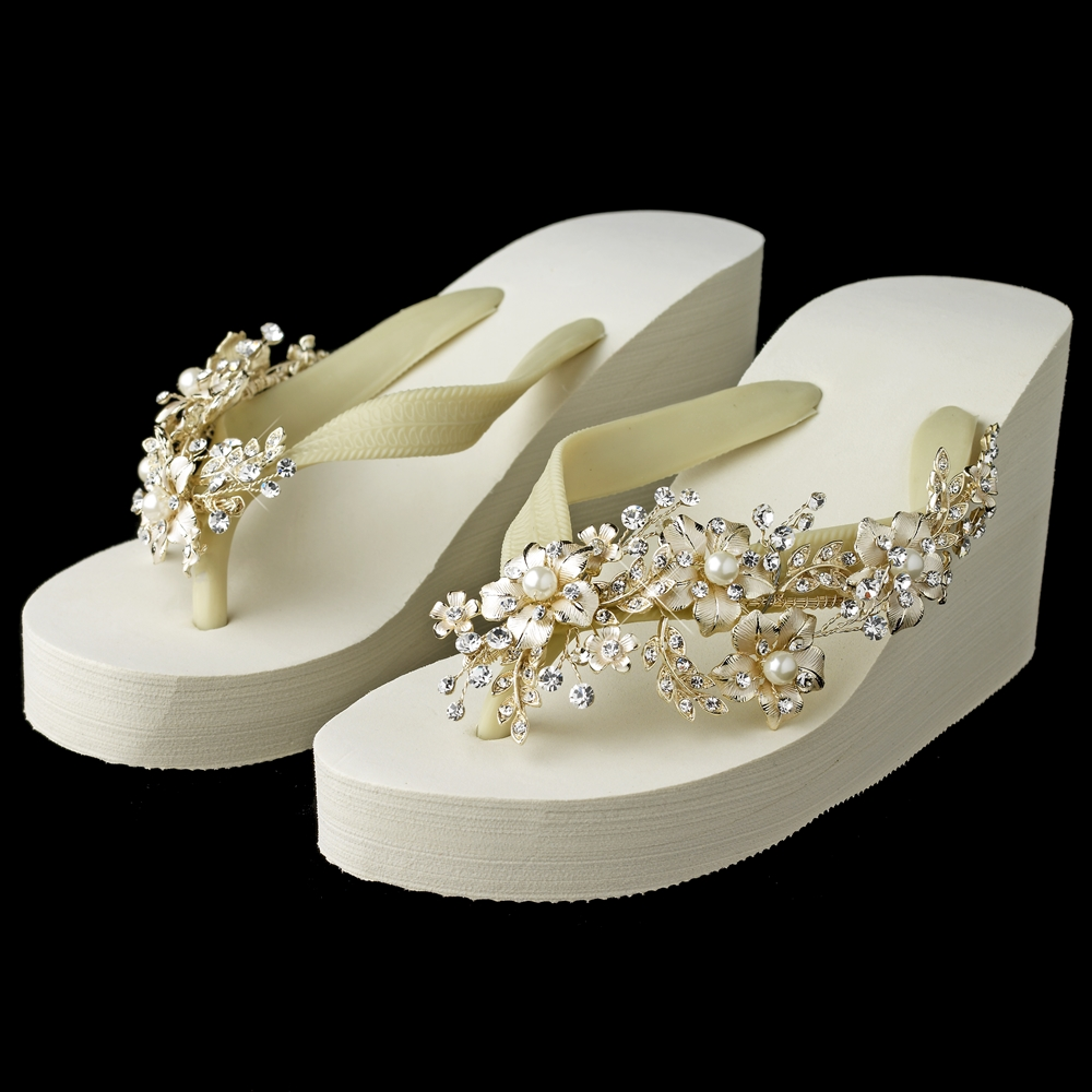 0258f203fdd Floral Light Gold Vine High Wedge Flip Flops with Rhinestone   Pearl Accents