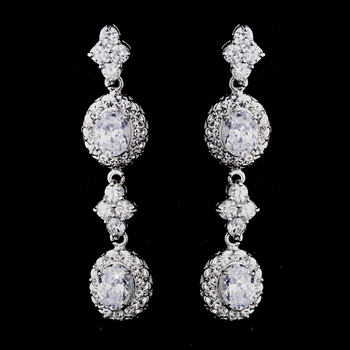 * BLOWOUT SALE! * Silver Clear CZ Earrings 1302