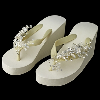 Floral Vine High Wedge Flip Flops with Crystal Accents