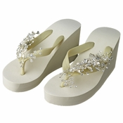 69dc7fa04 Floral Vine High Wedge Flip Flops with Crystal Accents