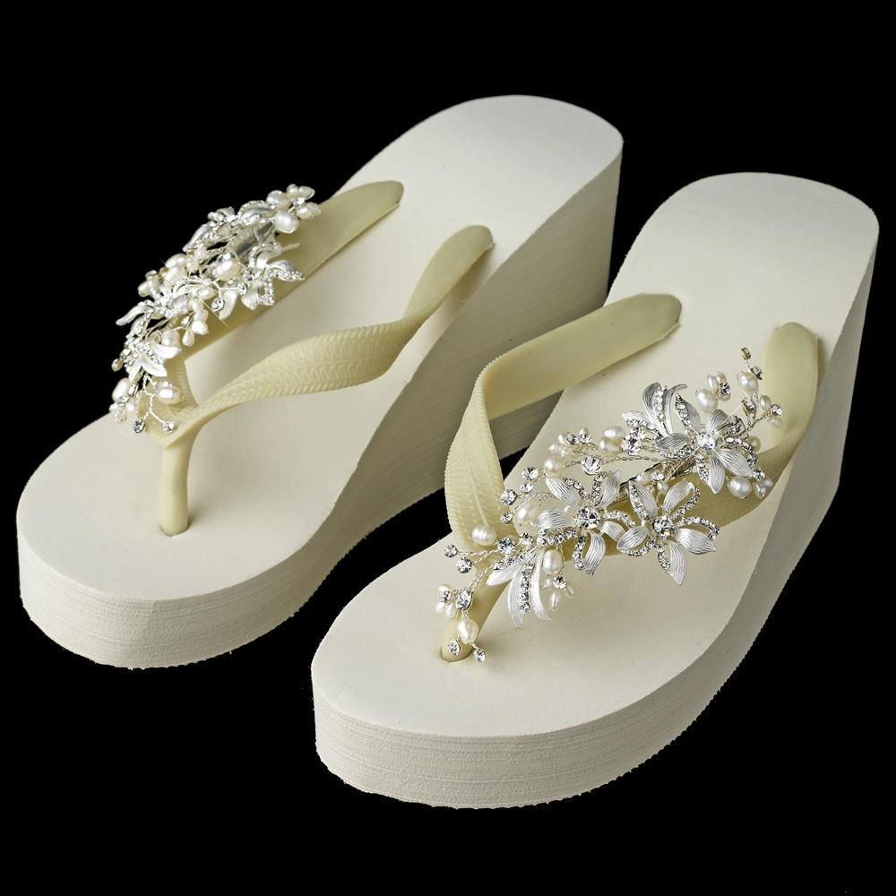 82e980936f2d Floral Vine High Wedge Flip Flops with Rhinestone   Freshwater Pearl Accents