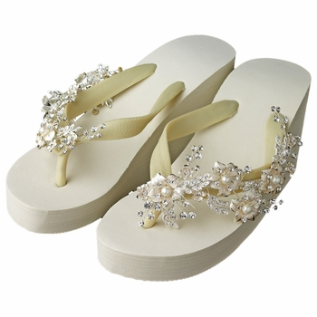 caba66a2f071 Floral Vine High Wedge Flip Flops with Rhinestone   Pearl Accents