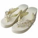Floral Vine High Wedge Flip Flops with Rhinestone & Pearl Accents