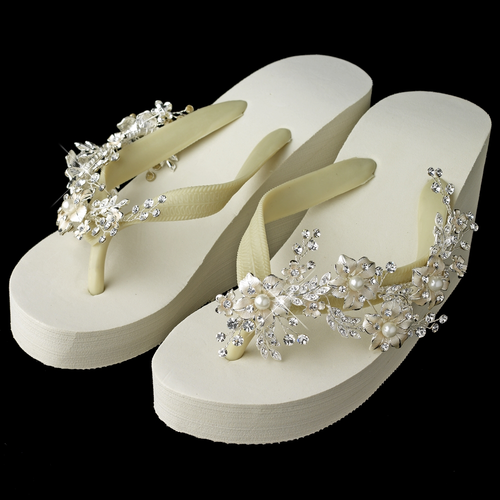 81c3437787e77 Floral Vine High Wedge Flip Flops with Rhinestone   Pearl Accents