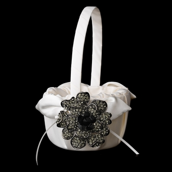 Flower Girl Basket 17 with Antique Black Crystal & Rhinestone Floral Brooch 8779
