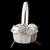 Flower Girl Basket 17 with Antique Clear Crystal Brooch 13