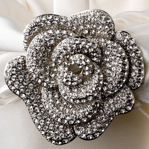 Flower Girl Basket 17 with Antique Clear Floral Brooch 113