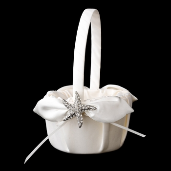Flower Girl Basket 17 with Antique Clear Starfish Brooch 93