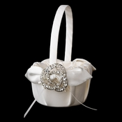 Flower Girl Basket 17 with Antique Silver Clear Brooch 20