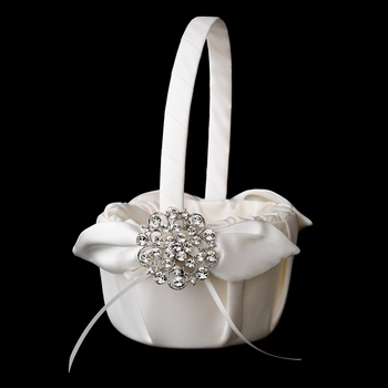 Flower Girl Basket 17 with Antique Silver Clear Crystal Floral Brooch 58