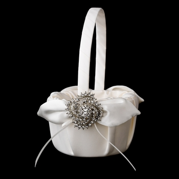 Flower Girl Basket 17 with Antique Silver Clear Swirl Brooch 116