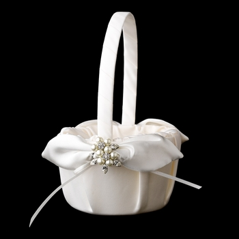 Flower Girl Basket 17 with Antique Silver Marquise Crystal & Pearl Brooch 118