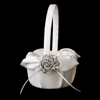 Flower Girl Basket 17 with Crystal & Rhinestone Flower Brooch 86