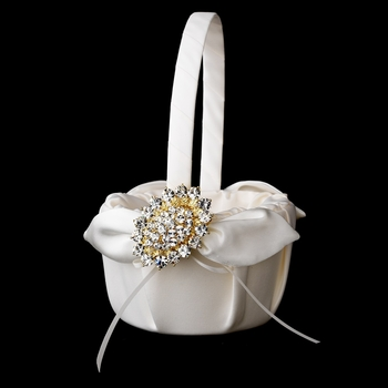 Flower Girl Basket 17 with Gold Clear Crystal Brooch 13