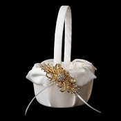 Flower Girl Basket 17 with Gold Rhinestone Ribbon Brooch 3268
