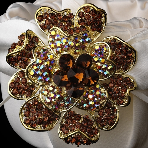 Flower Girl Basket 17 with Gold Topaz Crystal & Rhinestone Floral Brooch 8779