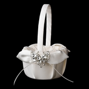 Flower Girl Basket 17 with Silver Clear Butterfly Brooch 111