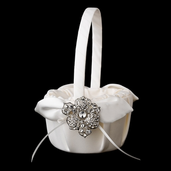 Flower Girl Basket 17 with Silver Clear Crystal Flower Brooch 62
